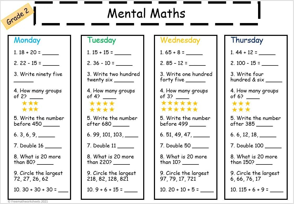 Grade 2 Mental Math Worksheets Free Worksheets Printables