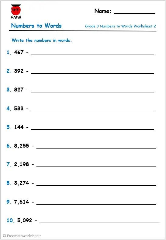 Grade 3 numbers to words worksheet.