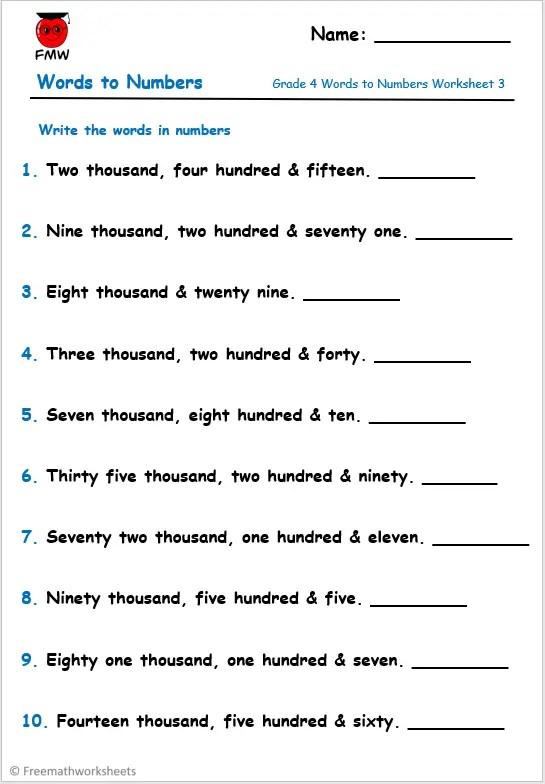 Grade 4 words to numbers worksheet.