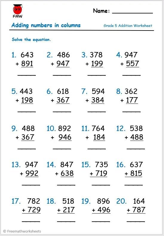Grade 5 free addition worksheet.