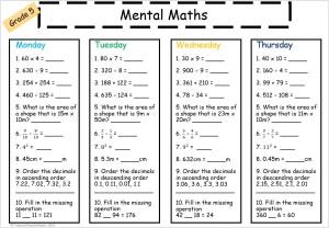 Grade 5 mental maths to help students develop their mental maths skills.