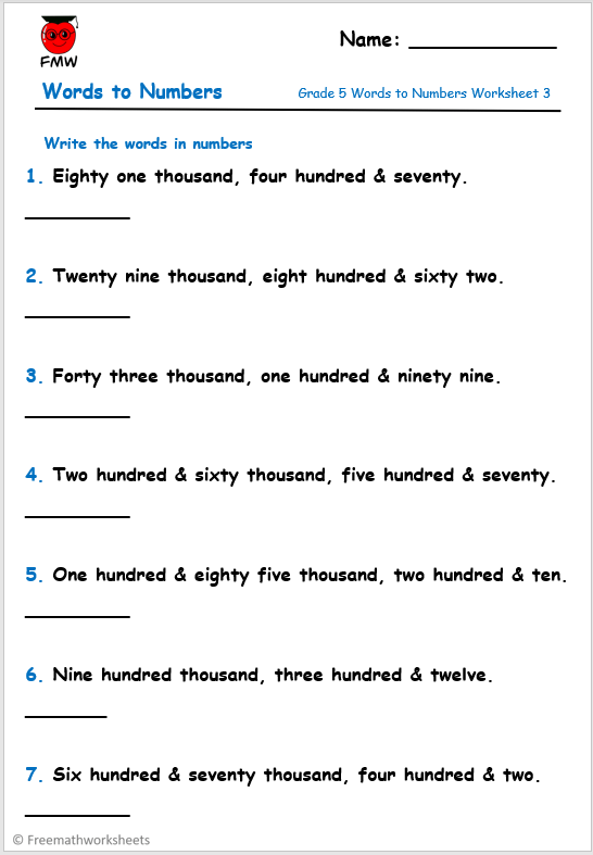 Grade 5 words to numbers worksheet for Mathematics.