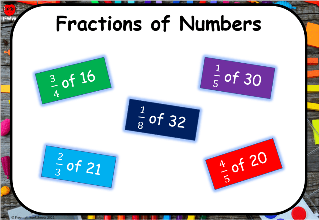 Grade 4 fractions of numbers