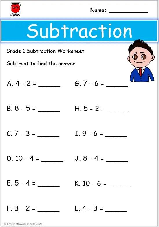 Grade 1 subtraction worksheet
