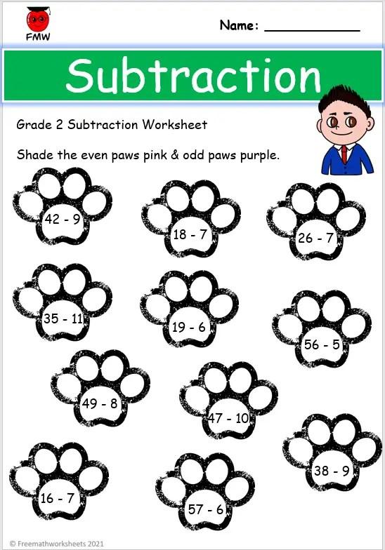 Grade 2 subtraction worksheets
