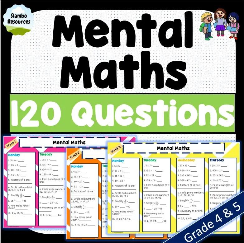 Grade 4 mental maths worksheets free