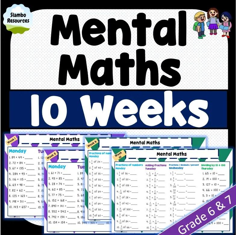 Grade 6 mental maths worksheets