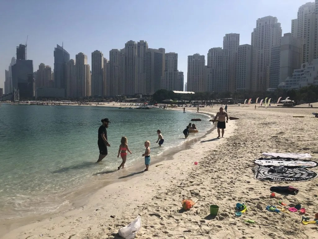 Dubai skyscrapers and beach