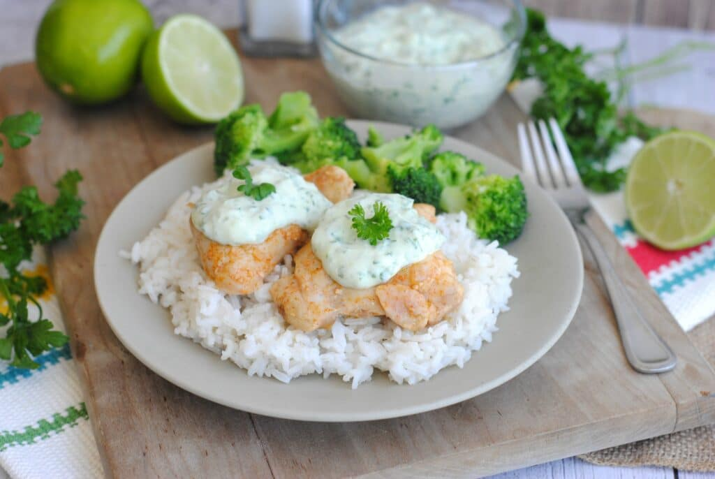 chicken thighs with herb-chile sauce