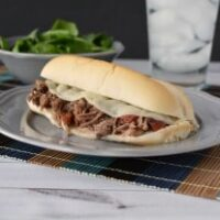 Slow Cooker Shredded Italian Beef Hoagies