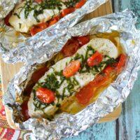 Grilled Tomato-Basil Tilapia {Foil Packs}