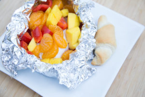 mango and red bell pepper chicken foil pack