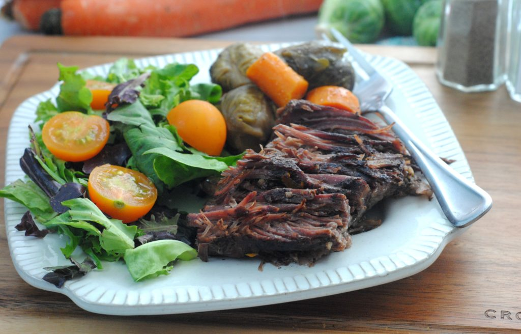 real food recipe for beef roast and brussels sprouts