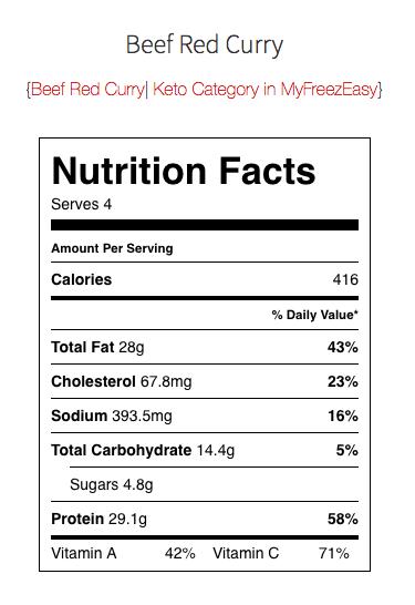 Keto Nutrition Facts - MyFreezEasy