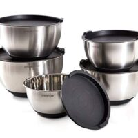 Stainless Steel Mixing Bowls with Lids and Non-Slip Silicone Base