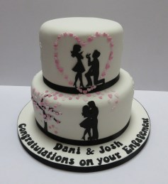 Romantic engagement cake