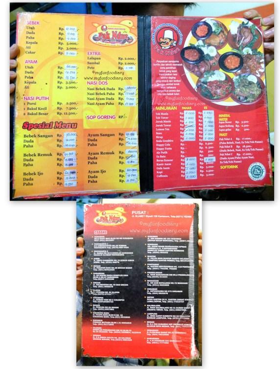 Menu Makanan di Bebek Pak N'dut & Daftar Cabangnya