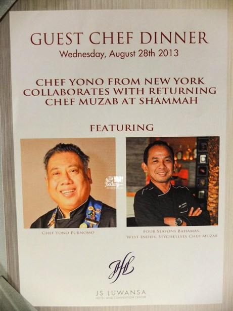 Presenting the Guest Chef Dinner, Chef Yono