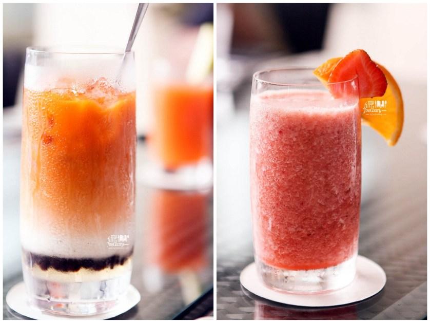 Fresh Strawberry Juice and Thailand Bubble Tea at Fresco Restaurant Hilton Bandung by Myfunfoodiary