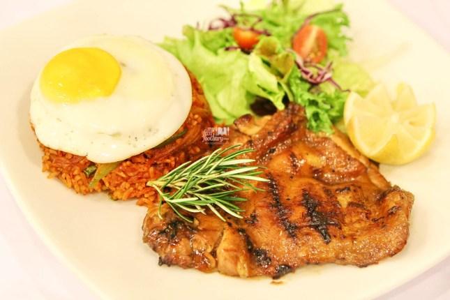 Galbi Chicken Steak with Kimchi Rice Kyochon Korean Chicken by Myfunfoodiary