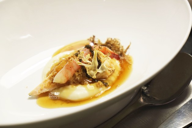 Poached chicken, sweet shrimps, ebi, cauliflower puree & dashi at Real Food Concept Chapter 1 Ocean by Myfunfoodiary 01