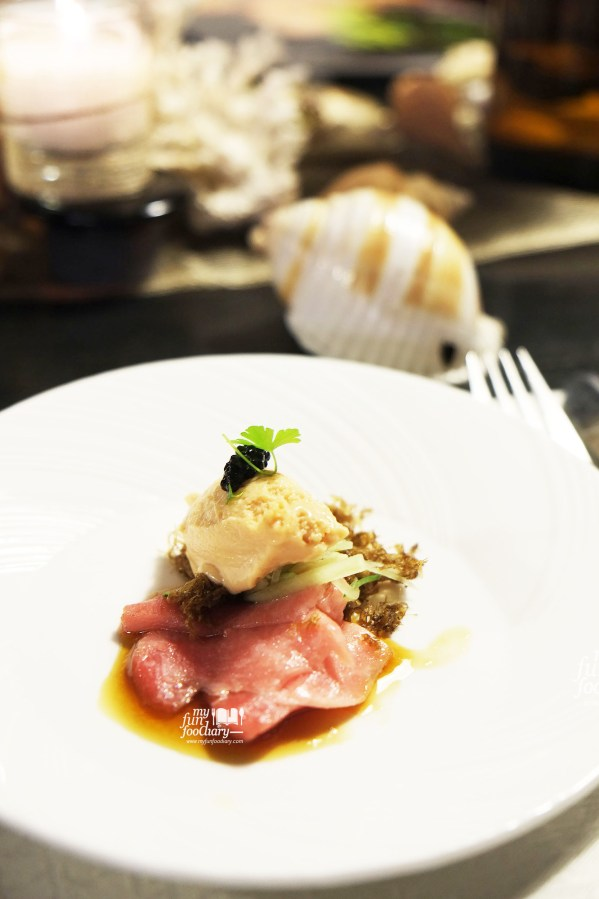Tuna Belly, foie gras mousse, caviar, yuzu and soy at Real Food Concept Chapter 01 Ocean by Myfunfoodiary 01