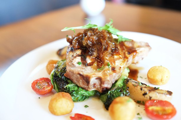 Pork Chop with Onion compote, Apple, Grilled Baby Romaine Lettuce & Baby Potatoes at Canteen Pacific Place by Myfunfoodiary