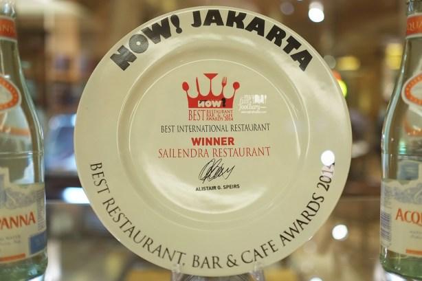 Award as Best International Restaurant for Sailendra Restaurant JW Marriott Jakarta by Myfunfoodiary