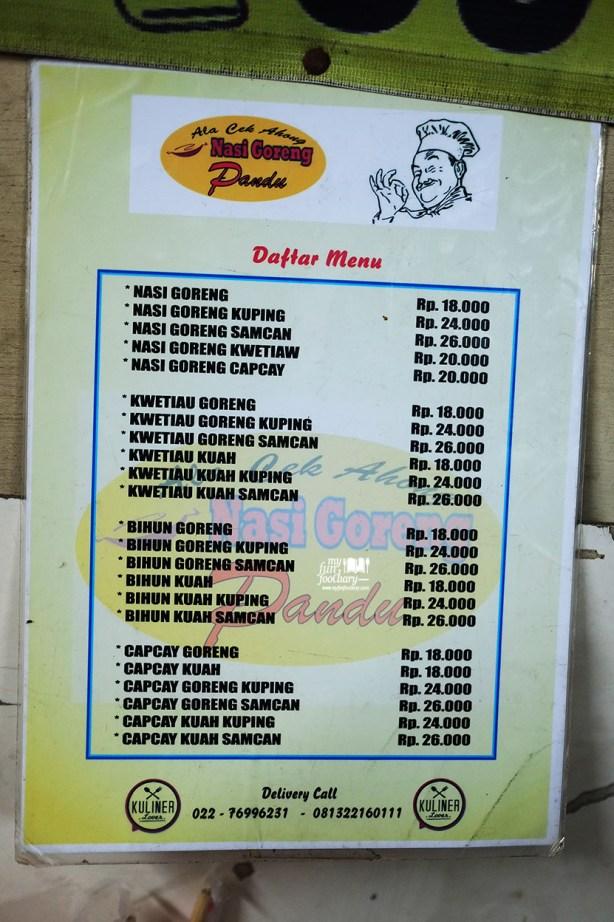 Daftar Harga Nasi Goreng Pandu Cek Acong Bandung by Myfunfoodiary