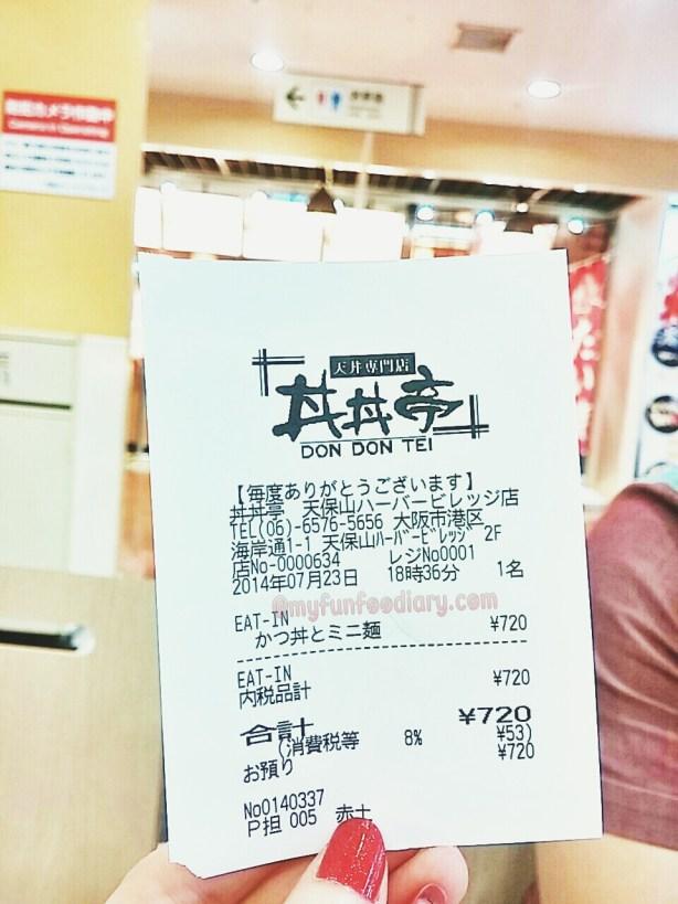 Bills at Don Don Tei Osaka Tempozan Marketplace