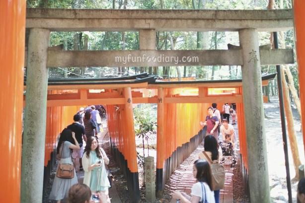The two dense rows of torii gates of Senbon Torii