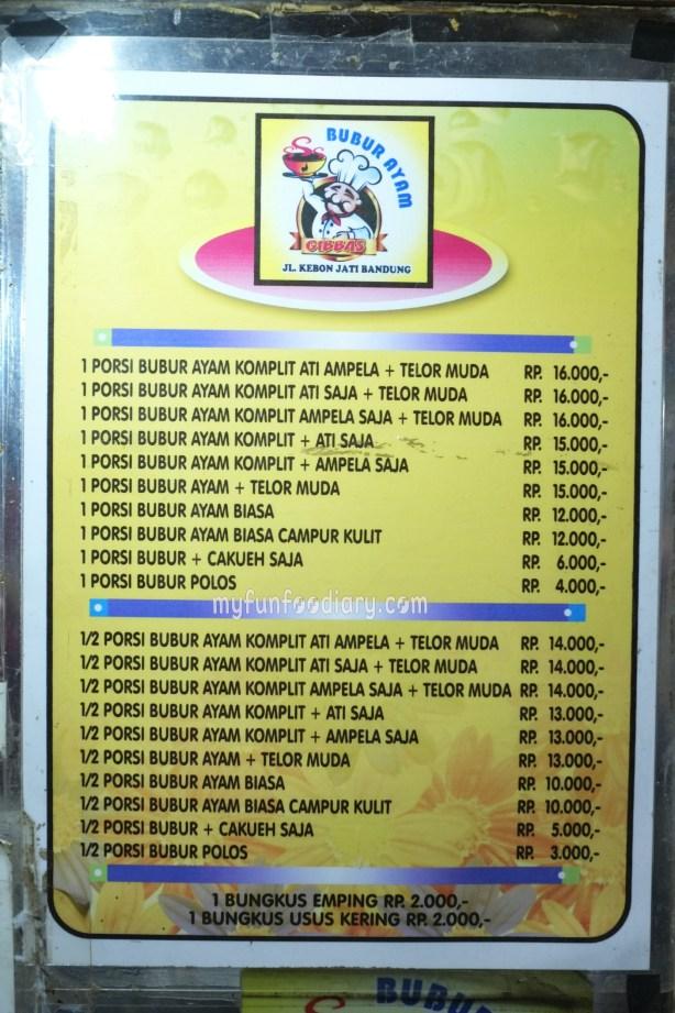 Daftar Harga Bubur Gibbas by Myfunfoodiary