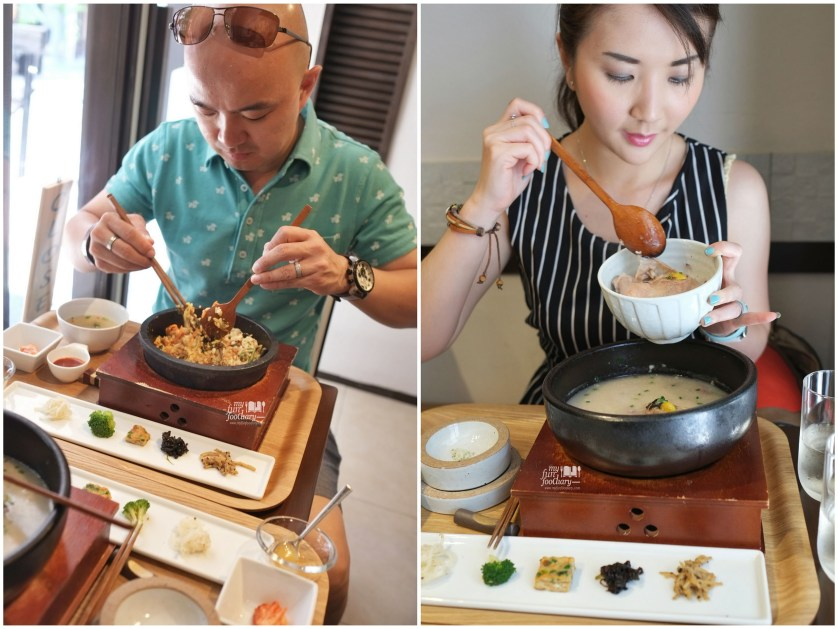 Mullie and Andy were enjoying their Korean Fusion Lunch at Osuri Restaurant in Tokyo Japan by Myfunfoodiary