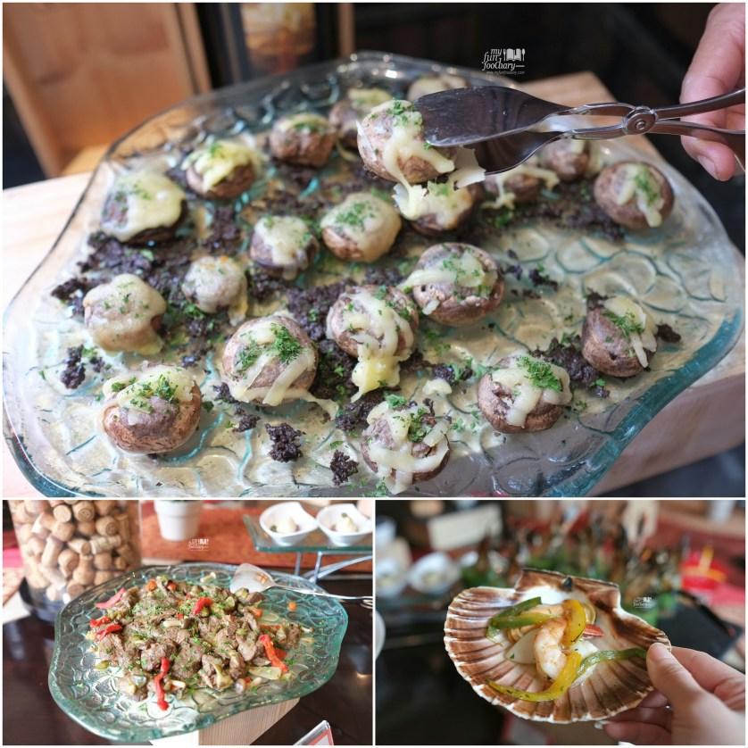 Stuffed Mushroom - Marinated Beef - Seafood at Rosso Shangrila Jakarta by Myfunfoodiary