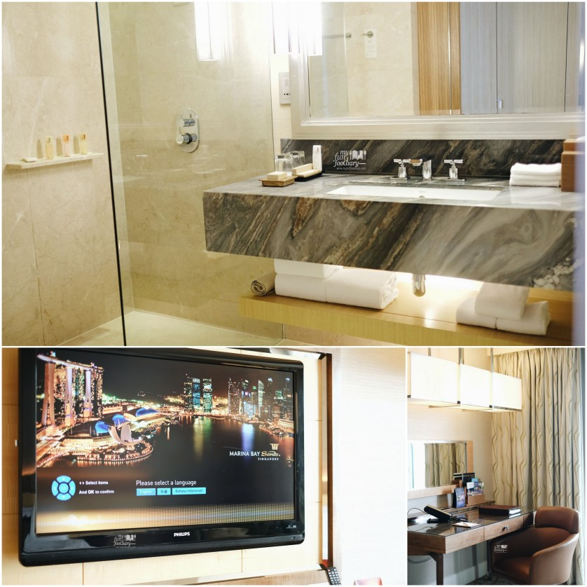 Huge Bathroom and Big TV Screen in my room 4318 at Marina Bay Sands Tower 3 by Myfunfoodiary