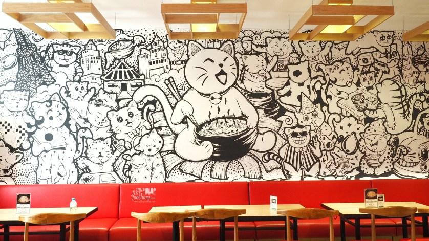 Cute Cats on the wall at Negiya Donburi by Myfunfoodiary