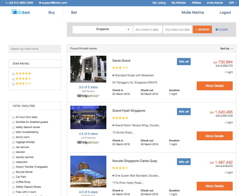 Search results for available hotels in Singapore