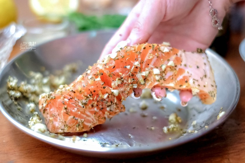 Coating the premium Salmon Fillet by Myfunfoodiary
