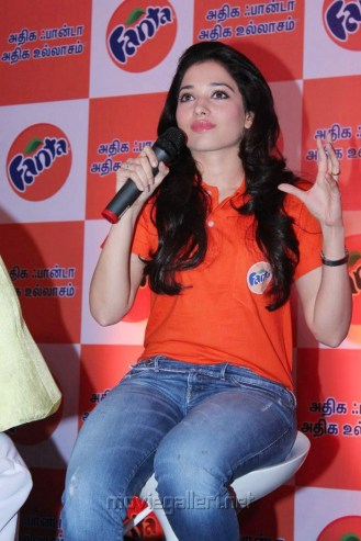 Tamanna Bhatia New Cute Images in Orange T Shirt