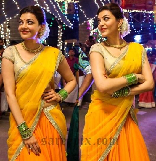 kajal-beautiful-yellow-half-saree-maari-movie