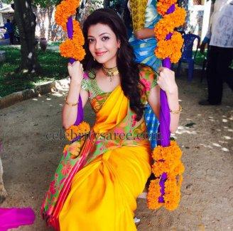 kajal-yellow-pure-silk-saree