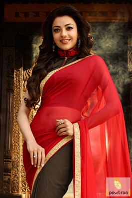 south-indian-actress-kajal-agarwal-in-red-saree-embroidery-work