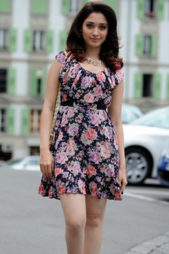Actress Tamanna Latest Hot Pics in One-Piece Floral Skirt