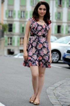 Oosaravelli Heroine Tamanna Hot Pics in Floral Skirt