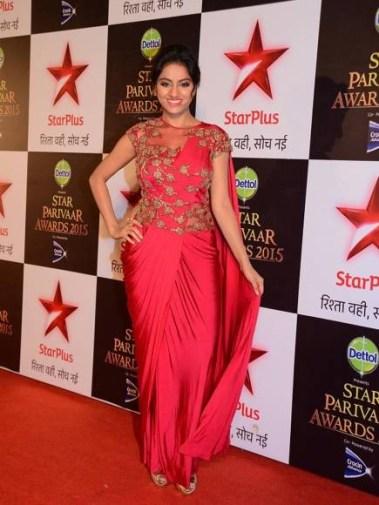 Deepika Singh aka Sandhya from Diya aur baati hum at the red carpet of Star Parivaar Awards, 2015