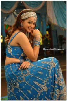 Bavana hot hip show in blue sleeveless blouse and skirt