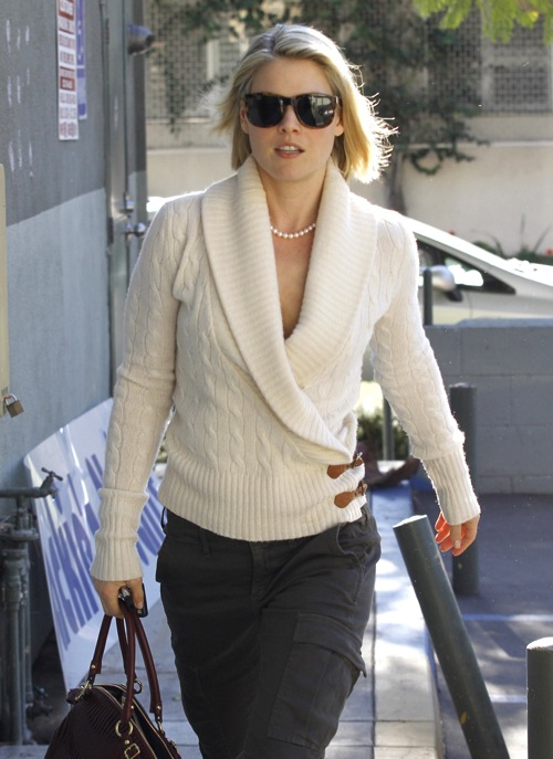 """#8328593 """"Obsessed"""" actress Ali Larter was looking chic in a cream cable knitted sweater as she went for a manicure, then caught a movie in Hollywood, California on December 28th, 2011. Fame Pictures, Inc - Santa Monica, CA, USA - +1 (310) 395-0500"""