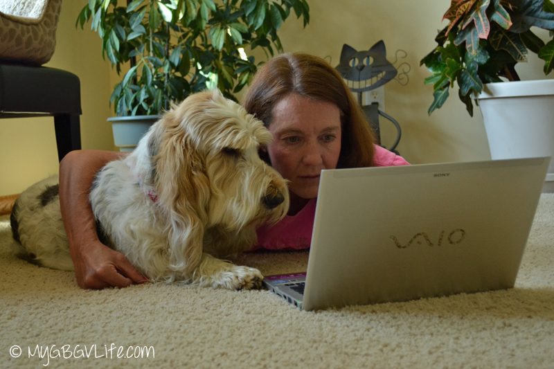 My GBGV Life Mom and I working on the Writer's Process Blog Tour