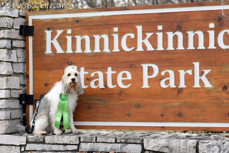 My GBGV Life Bailie at the Kinnickinnic State Park Sign with her ribbon
