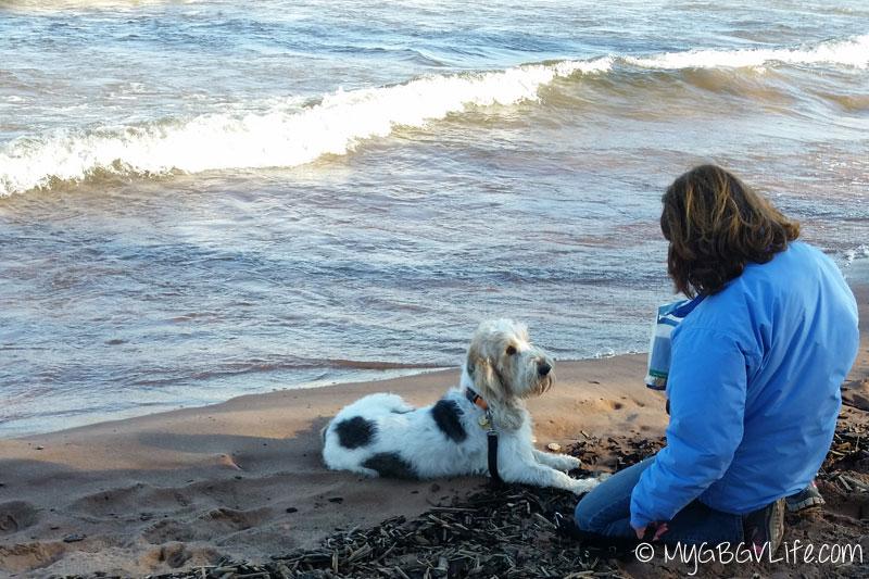 My GBGV Life Mom and Emma on the beach